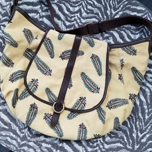 Lucky Brand Mustard Large Hobo Bag with feathers